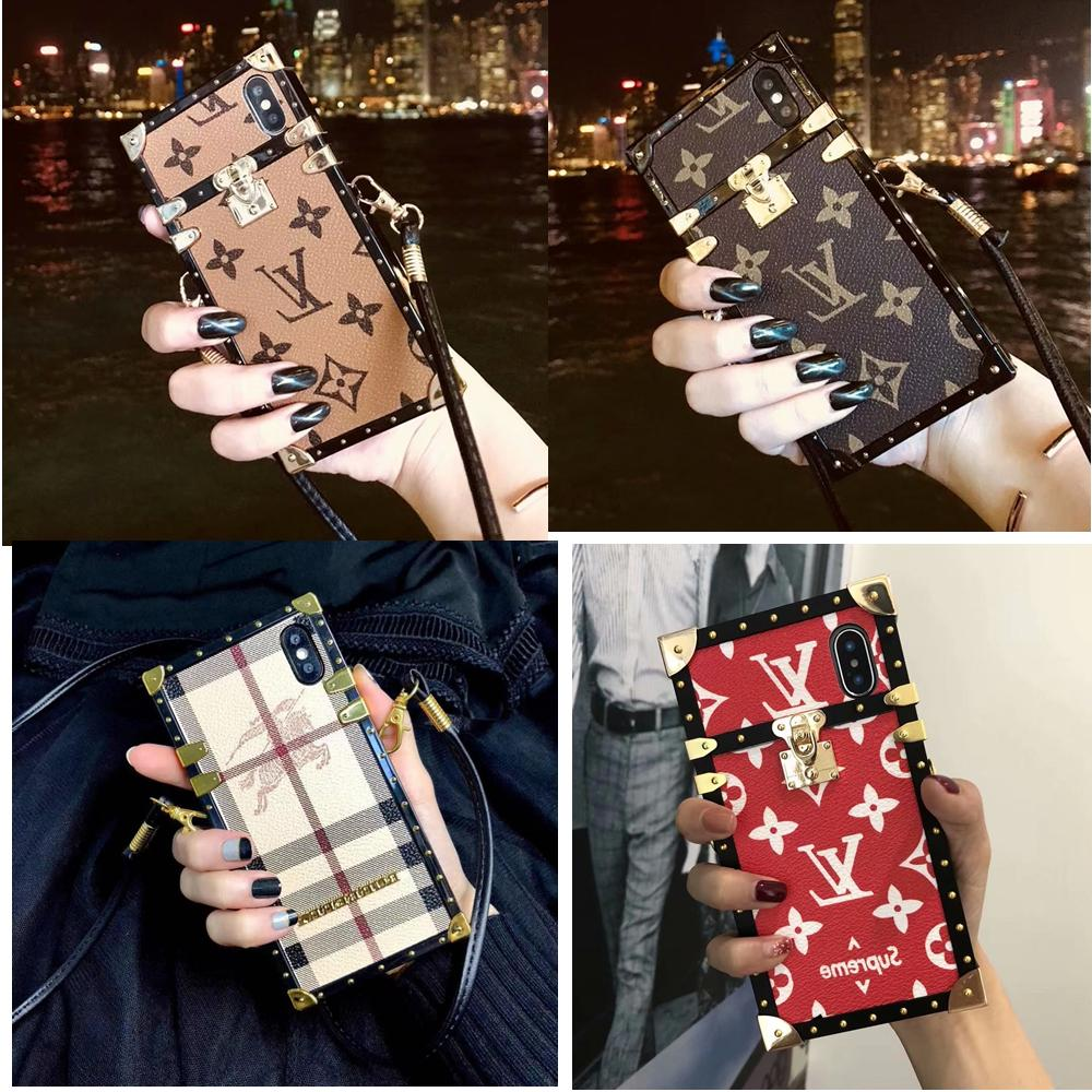 Luxury Metal Grid Plaid Leather Strap Case Cover For iPhone
