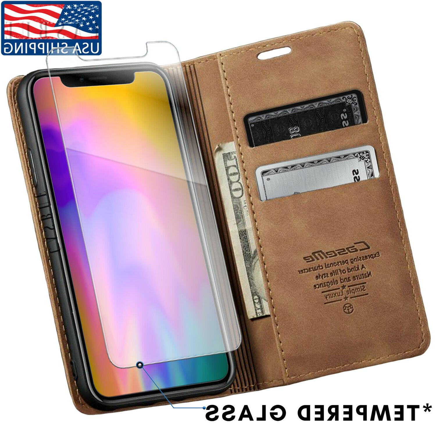 magnetic closure leather wallet case silicone phone
