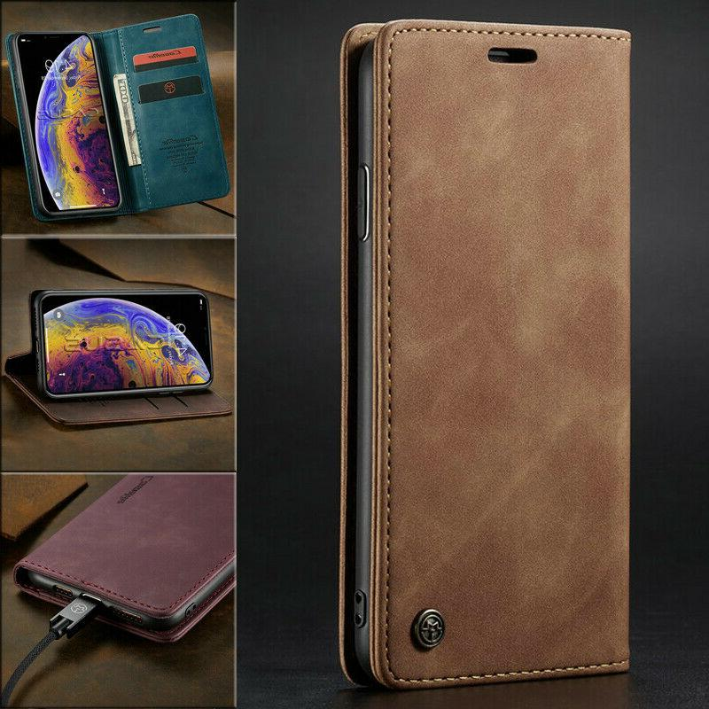 magnetic flip cover leather wallet card case