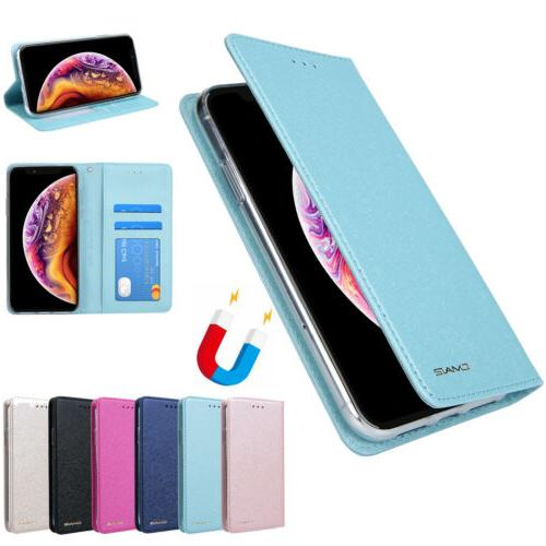 Magnetic Leather Flip Cover Card Wallet SILK CASE For iPhone