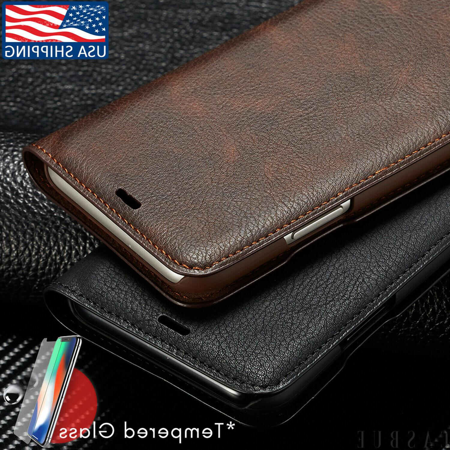 magnetic leather wallet case for iphone x
