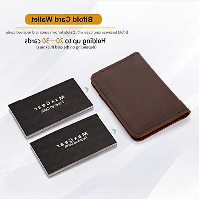 Men Women Leather Holder Wallet Dark Brown