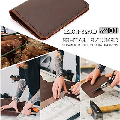 Men Women Business Card Case Holder Wallet Brown