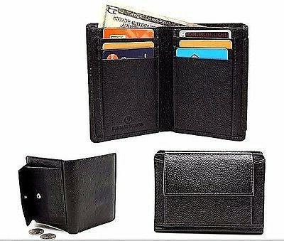 Men Black Coin Pouch Leather Bi-fold Wallets Snake Texture S