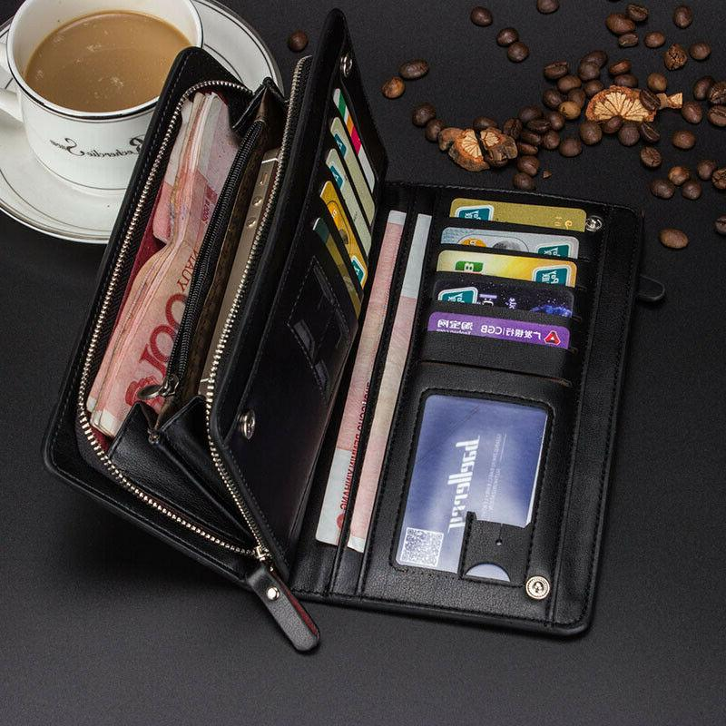 men s business bifold leather clutch long