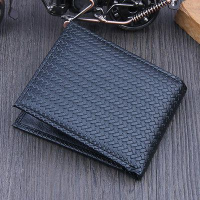 Men's Business Leather Weave Wallet Holder Pockets