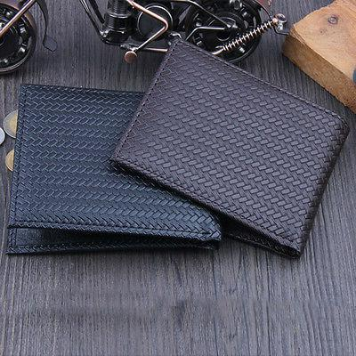 men s business leather weave wallet id