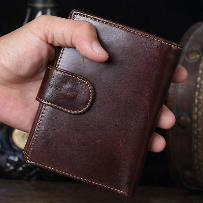 Men's Genuine Wallet Coin Card Mens Vintage Trifold