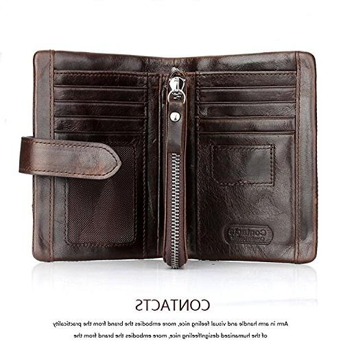 Men's Leather Cowhide Mens Wallet with Pocket