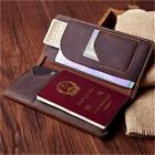 Men Vintage Genuine Leather Long Wallet Ticket Card passport