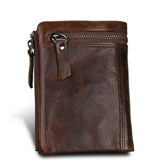 Men Wallet Standard with Coin Holder Zipper Leather
