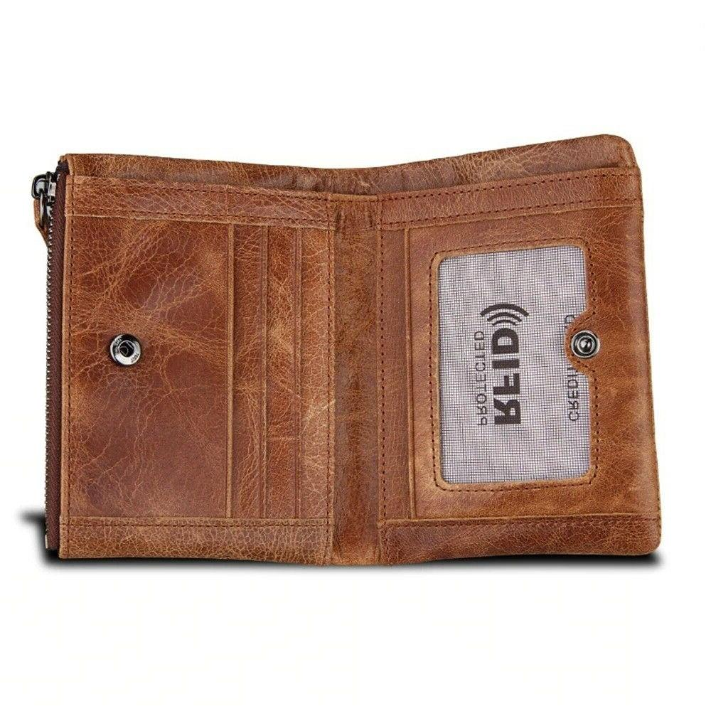Men Standard Coin Holder Zipper Vintage Genuine
