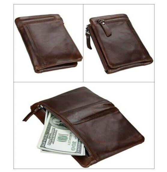 Men Standard Coin Pocket Card Zipper Vintage