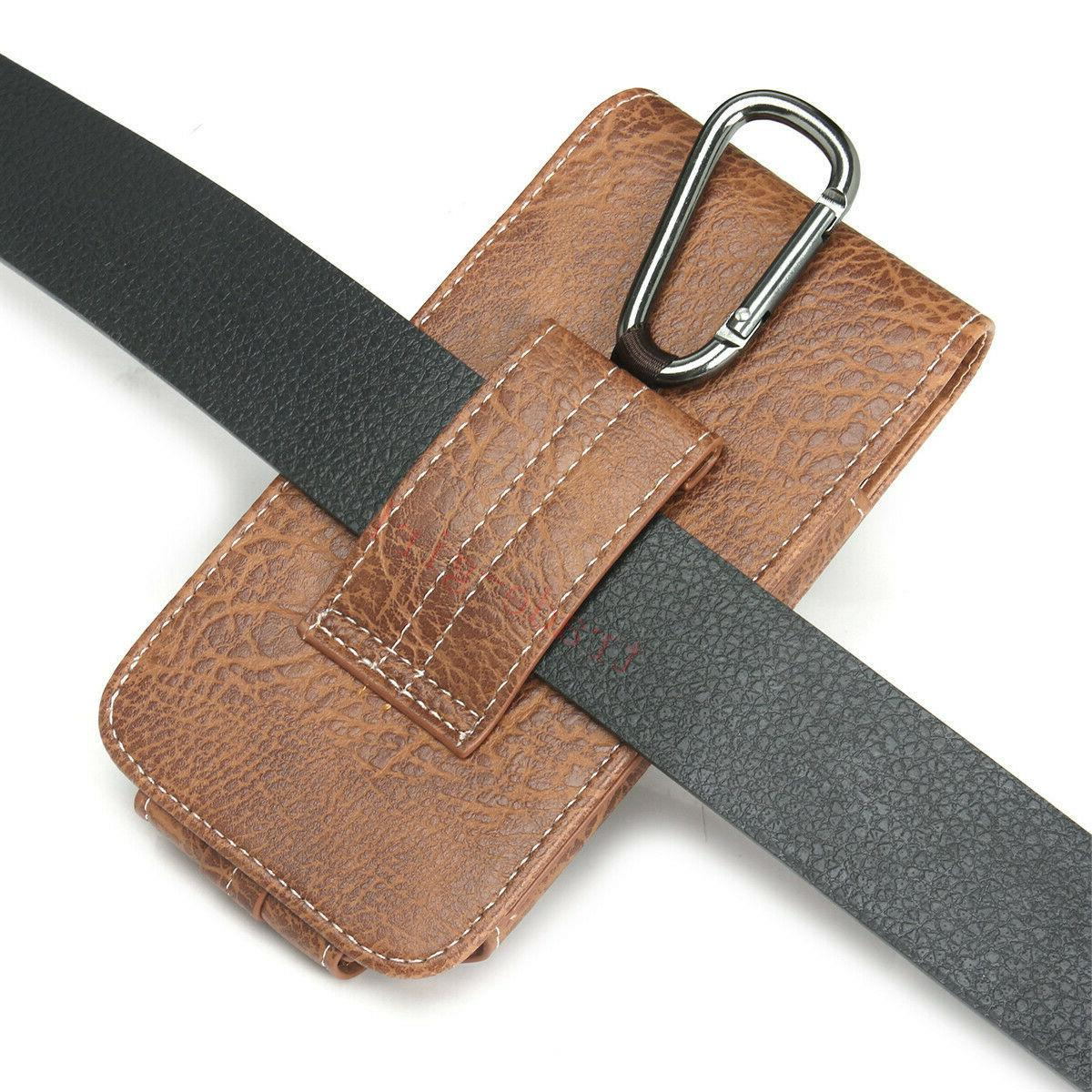 Mens Leather Phone Pouch Belt Card Sleeve