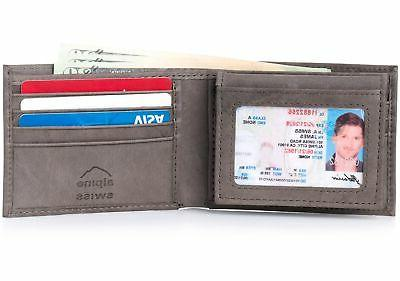 Alpine Swiss Mens Leather Wallet 2-In-1 Bifold Flip up Remov