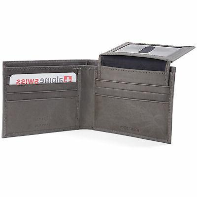 Alpine Swiss Mens Wallet 2-In-1 up Removable Card Grey