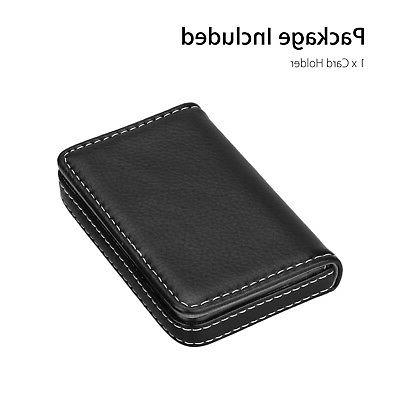Mens Leather Business ID Card Holder Case Wallet w/ Magnetic Shut