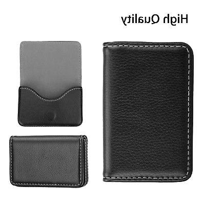 Mens Leather ID Credit Card Case Shut