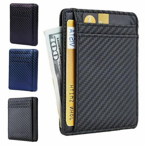 Mens RFID Blocking Leather Business Credit Card Front Wallet