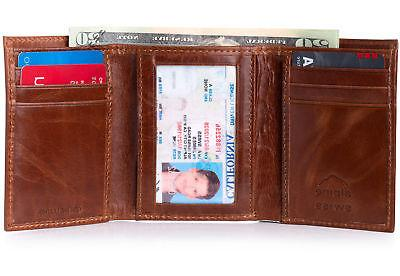 mens trifold wallet genuine leather card case