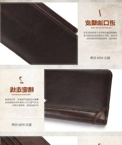 Men's Real Genuine Leather Business Holder Long Case