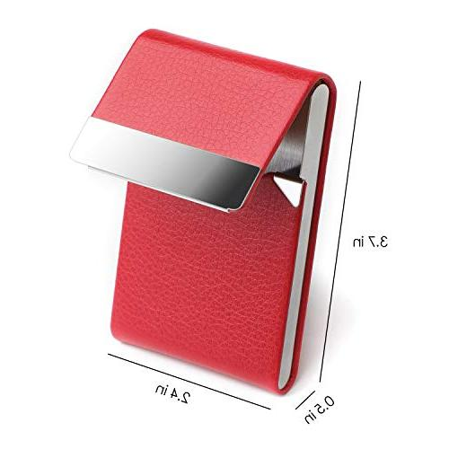 MaxGear Leather Card Slim Card Stainless Business Case with
