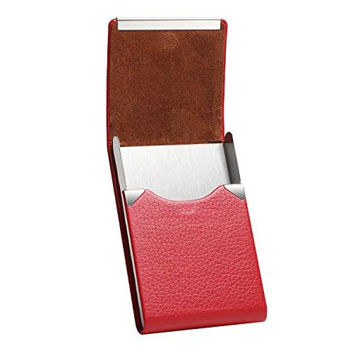MaxGear PU Business Card Slim Card Holder Stainless Business Case Magnetic Shut,Red