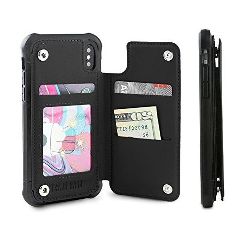 pu leather top view wallet case fits