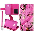 PU Leather Wallet Pink Camo Mapel Msy Case for  HTC One M8 P