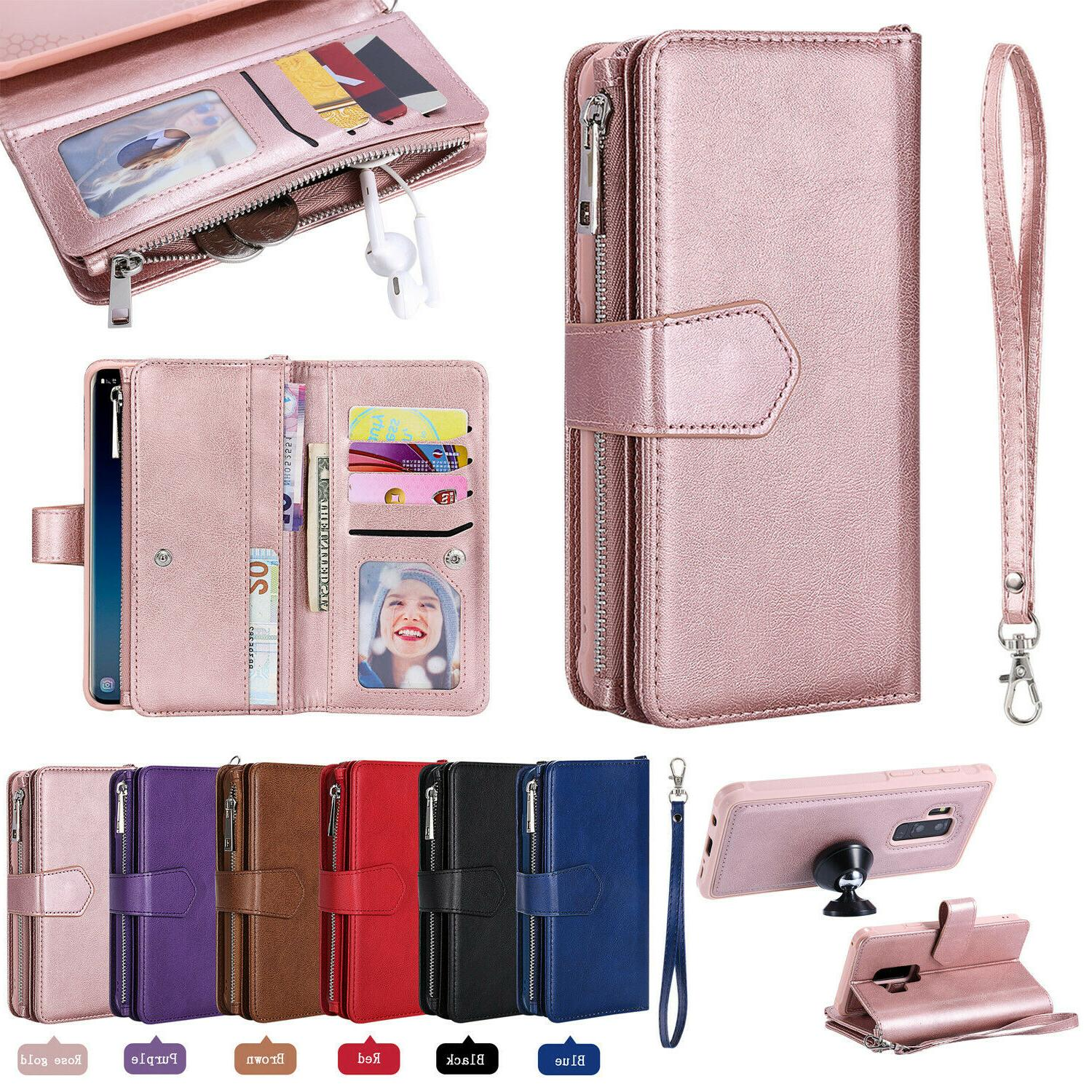 removable zipper leather wallet case for samsung