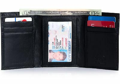 rfid blocking mens trifold wallet leather id