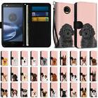 Rose Flip Wallet Pouch Case Cover w/ Dog for Motorola Moto Z