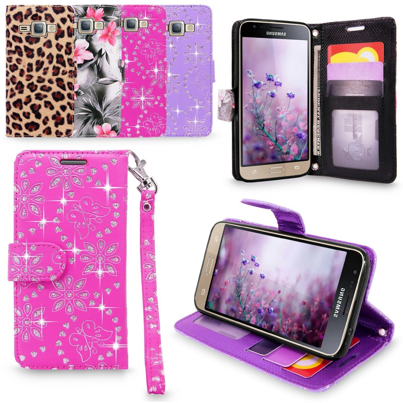 For Samsung Galaxy J3 Amp Prime  PU Leather Wallet Flip Stan