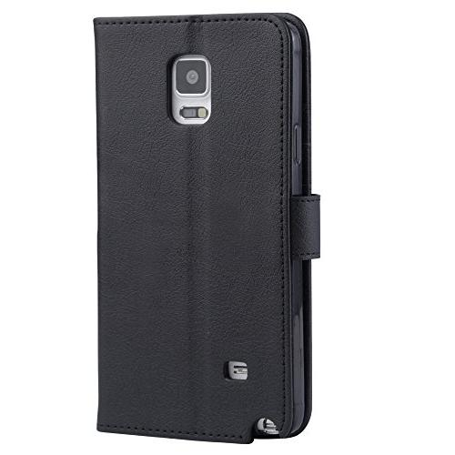 Samsung 4 Case, Wallet with Credit and Cover, Black