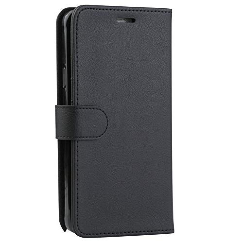 Samsung Note 4 Case, Abacus24-7 Wallet with Credit and Blocking Flip Cover, Black