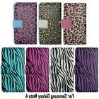 For Samsung Galaxy Note 4 Case Wallet Leopard Zebra Print St