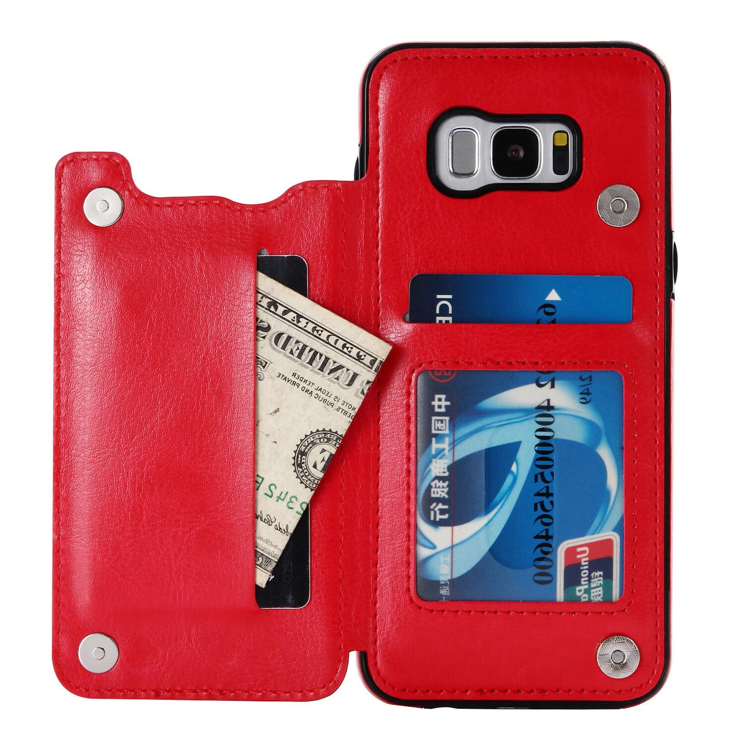 For Samsung 9 S10+ Plus Slot Flip Leather Wallet