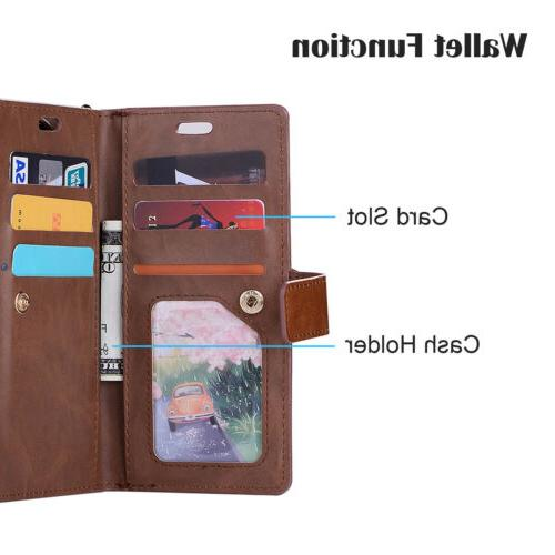 For Samsung Note 9/S9/S8 Phone Card Wallet Leather Stand