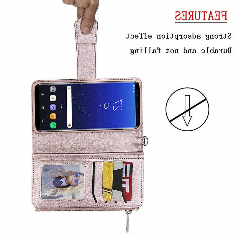 For Samsung Galaxy S9 Note8 Removable Leather Zipper Case