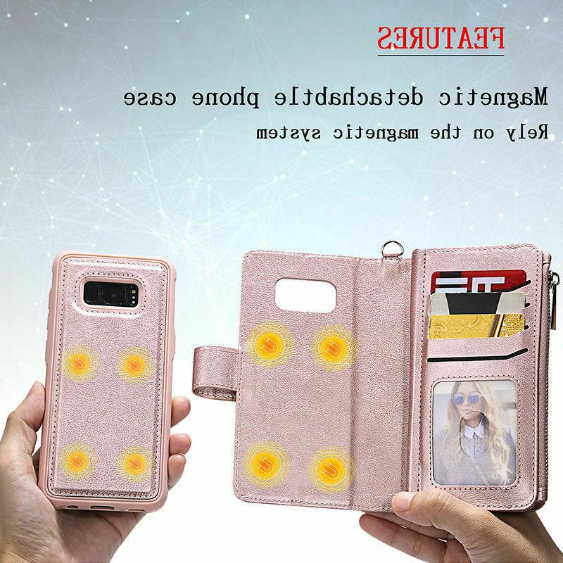 For Samsung Galaxy S9 Plus Removable Leather Case Purse