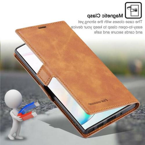 For Galaxy 10 Plus S10 Leather Case Card Pocket