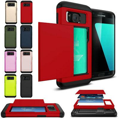 For Samsung Galaxy S5 Shockproof Card Wallet Hybrid Rubber A