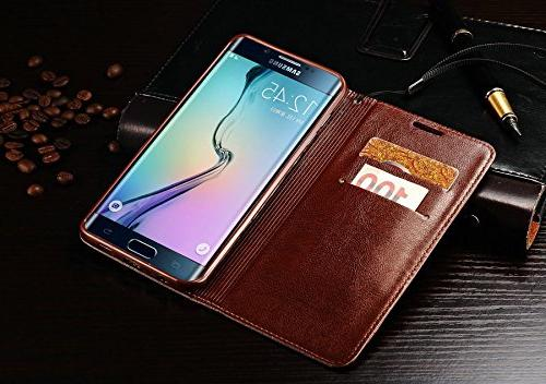 Samsung S9 S8 Plus Leather Case Holders Photo Stand Slot Money