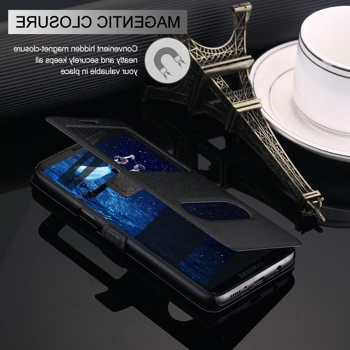 Samsung S20+ 8/9/10+ Leather Flip View Cover