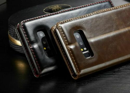 Samsung Note S9 S10 Flip Leather Wallet Stand Phone Case Cover