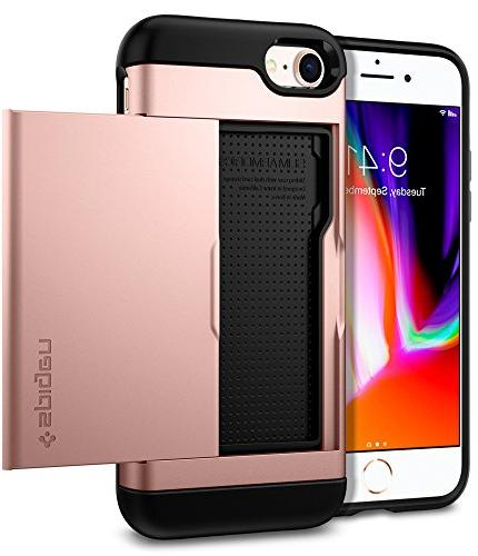 iPhone 8 Case with Layer Card Slot Holder Apple iPhone iPhone 8 Rose Gold