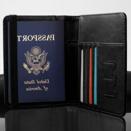 Slim Leather Travel Wallet Holder ID Card Cover