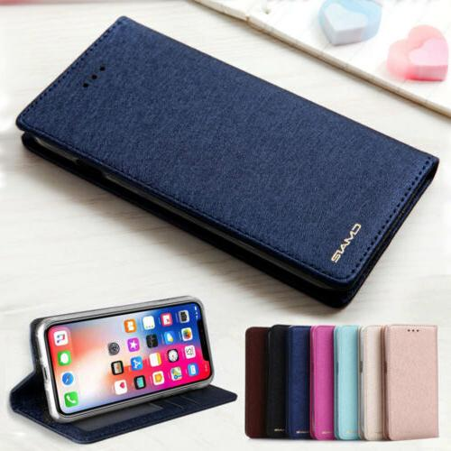 Slim Wallet Silk Leather Stand Magnetic Flip Case Cover For