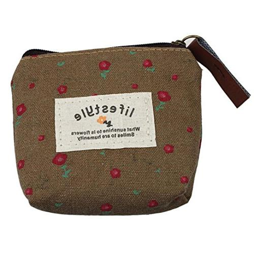small canvas purse zip wallet lady coin