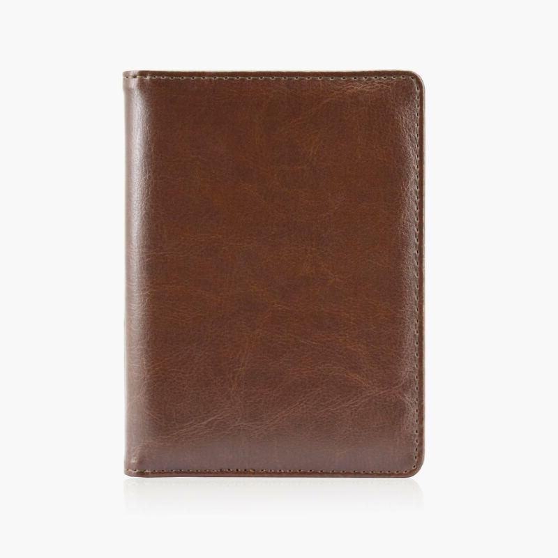 Solid Passport Cover Wallet Travel Brown